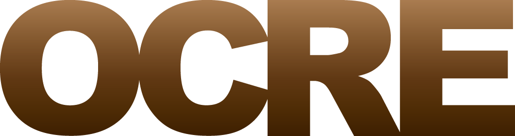 The offical OCRE logo in a brown gradient colour
